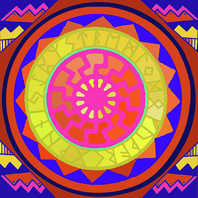 Digital Art - Viking Sun Wheel With Runes by Vagabond Folk Art - Virginia Vivier