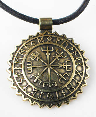 Digital Art - Viking Vegvisir Compass With Rune Calendar - Bronze Pendant by Vagabond Folk Art - Virginia Vivier