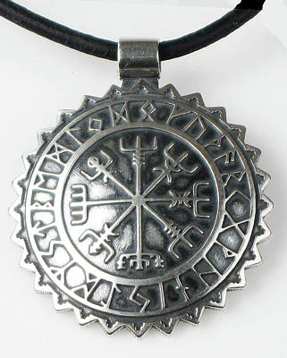 Sterling Silver Jewelry - Viking Vegvisir Rune Calendar Sterling Silver Pendant by Virginia Vivier
