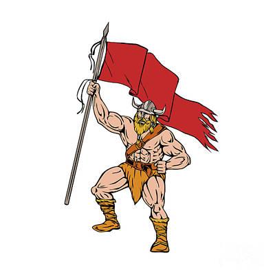 Viking Warrior Brandishing Red Flag Retro Print by Aloysius Patrimonio