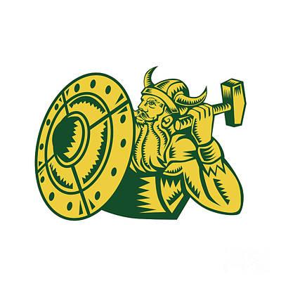 Viking Warrior Hammer Shield Woodcut Art Print
