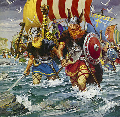 Sea Birds Drawing - Vikings by Jack Keay