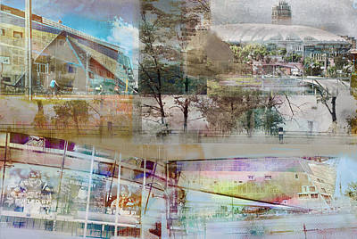 Photograph - Vikings Stadium Collage 2 by Susan Stone