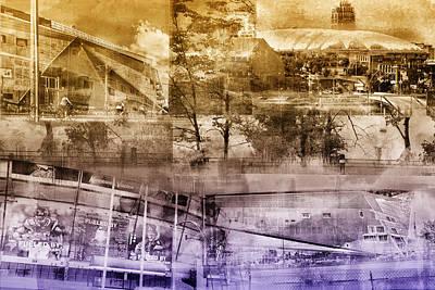 Vikings Stadium Collage Art Print by Susan Stone