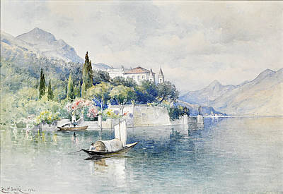 Lake Como Drawing - Villa Arcomatic Lake Como by George Henry Smillie