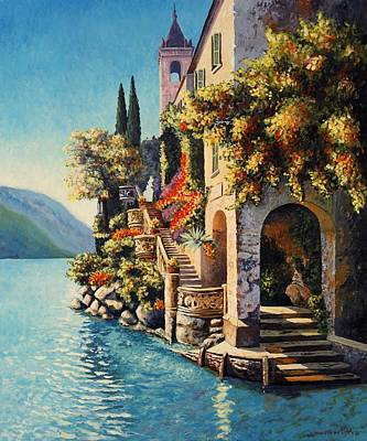 Lake Como Painting - Villa Balbianello Lake Como by Santo De Vita