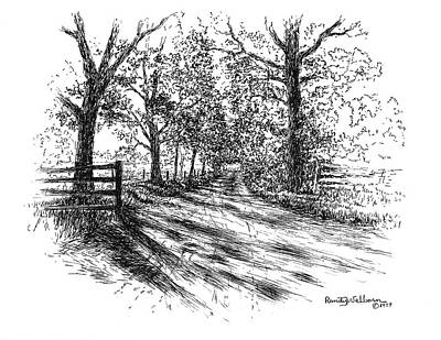 Drawing - Villa Road At Sunset by Randy Welborn