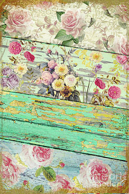 On Wood Painting - Villa Rosa by Mindy Sommers