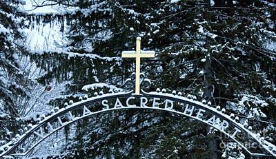 Photograph - Villa Sacred Heart Winter Retreat Golden Cross by John Stephens