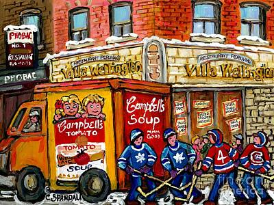 Painting - Villa Wellington Verdun Montreal Winter Scene Hockey Art  Campbell Soup Truck Canadian Artist by Carole Spandau