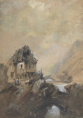 Drawing - Village A Dieppe by Eugene Isabey