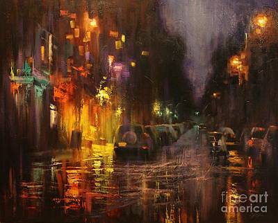 Painting - Village After Rain by Chin H  Shin