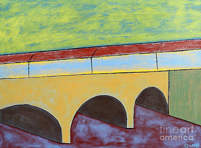 Covered Bridge Painting - Village And Bridge by Patrick J Murphy