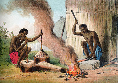 Native Drawing - Village Blacksmiths In Africa In The by Vintage Design Pics