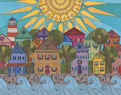 Village By The Sea Art Print
