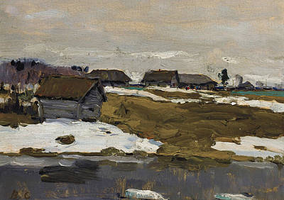 Painting - Village By The Water In Winter by Treasury Classics Art