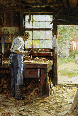 Window Bench Painting - Village Carpenter by Edward Henry Potthast