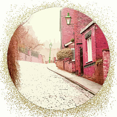 Village Cobblestone Street With Pink Houses Art Print