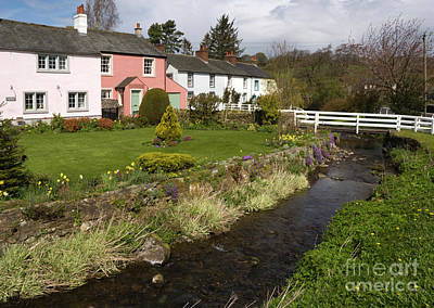 Lake Photograph - Village Cottages English Peak District Village With Colorful Houses Garden Stream And Bridge by Andy Smy