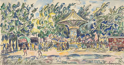 Drawing - Village Festival by Paul Signac