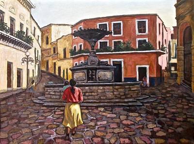 Corbels Painting - Village Fountain, Mexico by Mary Villanueva-Tuomy
