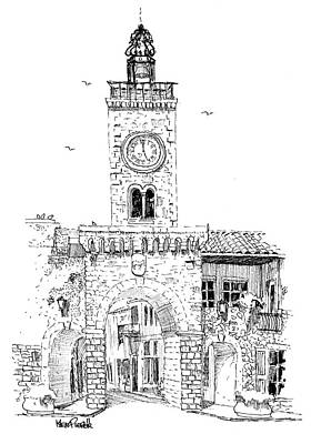 Thor Drawing Drawing - Village Gate In Old Le Thor France by Ken Pieper