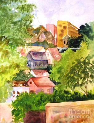 Village Hillside Art Print by Sandi Stonebraker