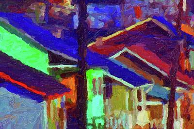 Village Houses Art Print by Richard Farrington