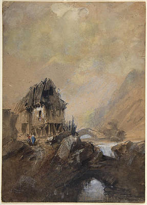 Drawing - Village In Dieppe by Eugene Isabey