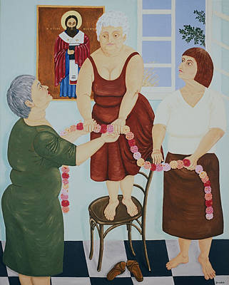Greek Icon Painting - Village Ladies Decorate Icon by Diana Kordas