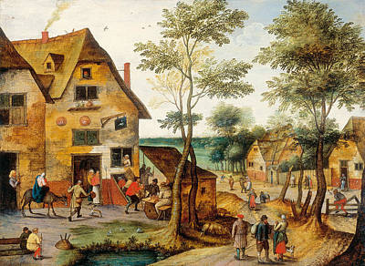 Painting - Village Landscape With The Virgin Mary And St. Joseph by Pieter Brueghel the Younger