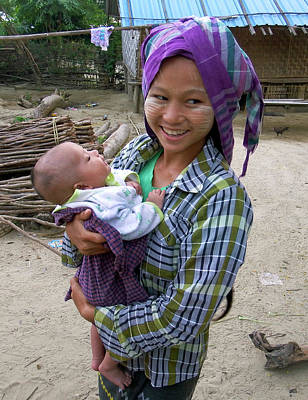 Photograph - Village Mother, Myanmar by Kurt Van Wagner