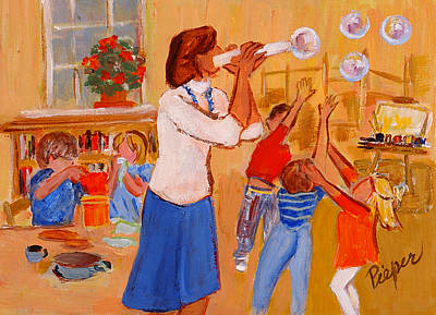 Painting - Village Nursery School by Elzbieta Zemaitis