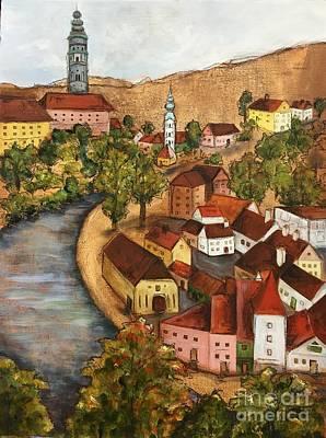 Czech Republic Painting - Chesky Krumlov, Czech Republic by Marcia Davis