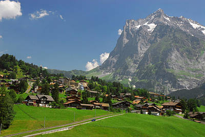 Village Of Grindelwald With Mount Art Print by Anne Keiser