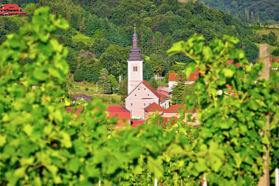Photograph - Village Of Strigova Towers And Green Landscape Through Vineyard  by Brch Photography
