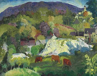 Bellows Wall Art - Painting - Village On The Hill by George Bellows