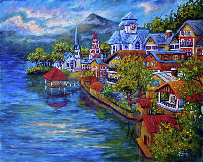 Village On The Lake Art Print