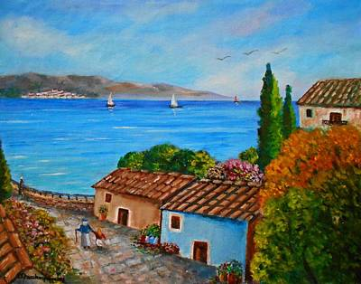 Painting - Village Perigiali - Greece by Konstantinos Charalampopoulos