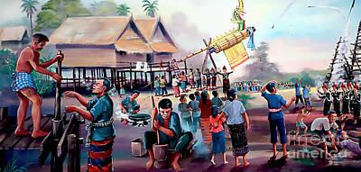 Village Rocket Festival-vintage Painting Art Print