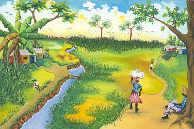 Village Scene Art Print by Herold Alveras