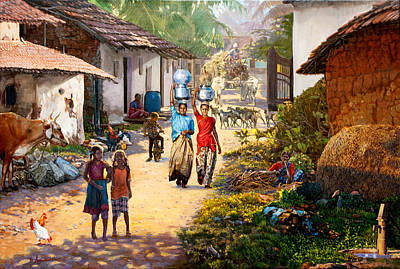 Bullock-cart Painting - Village Scene In India by Dominique Amendola
