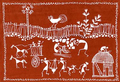 Village Scene In Warli Tribal Art Art Print by Jey Manokaran