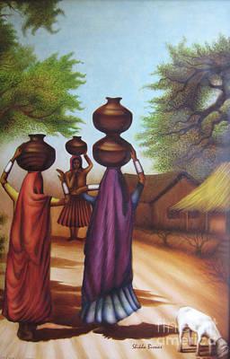 Village Scene Art Print By Shikha Biswas Joyee