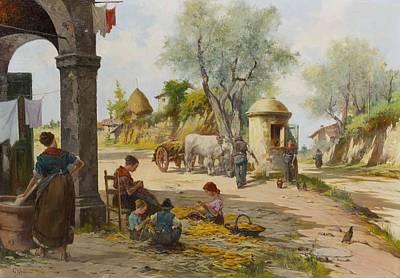 Corn Painting - Village Scene With Children Shucking Corn by Aldo Fortunati