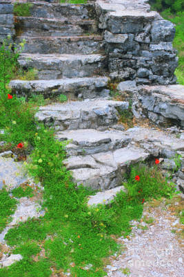 Painting - Village Stairs Greece by Donna L Munro