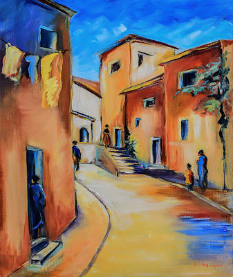 Landmarks Painting Royalty Free Images - Village Street in Tuscany Royalty-Free Image by Elise Palmigiani