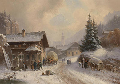 Painting - Village Street In Winter by Anton Doll