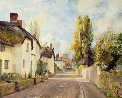 Village Street Scene Art Print by Charles James Fox