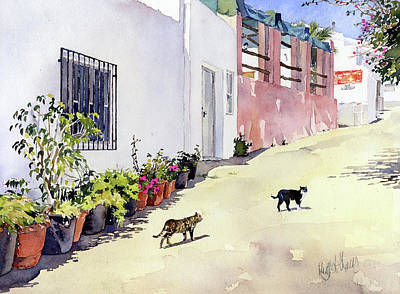 Painting - Village Street With Cats In Hortichuelas by Margaret Merry